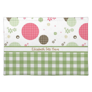 Trendy Cute Gingham Polka Dots With Name Cloth Placemat