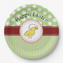Trendy cute girly baby chicken Easter Paper Plate