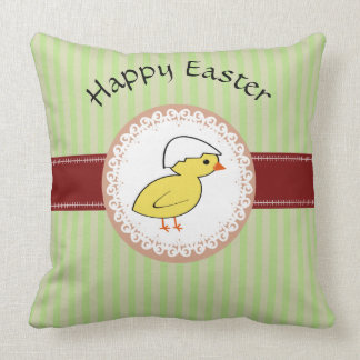 Trendy cute girly baby chicken Easter Throw Pillow