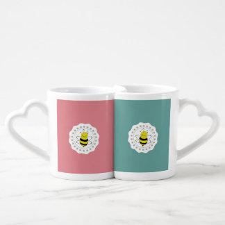 Trendy cute girly bee couples coffee mug