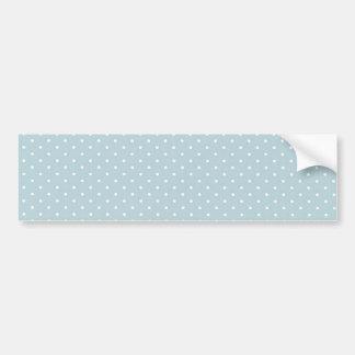 Trendy Cute Girly Blue White Polka Dots Pattern Bumper Sticker