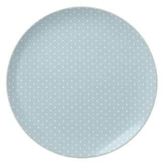 Trendy Cute Girly Blue White Polka Dots Pattern Party Plates