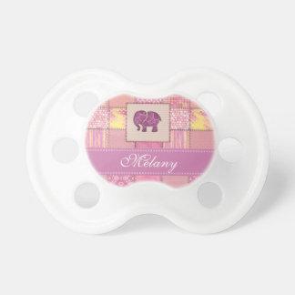 Trendy cute girly  elephant patchwork  monogram pacifier