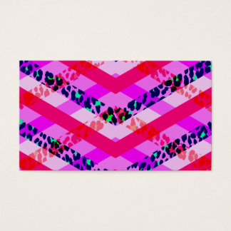 Trendy Cute Girly Leopard and Pink Stripes Business Card