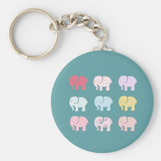Trendy cute girly modern colorful elephants basic round button keychain