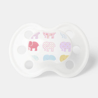 Trendy cute girly modern colorful elephants pacifier