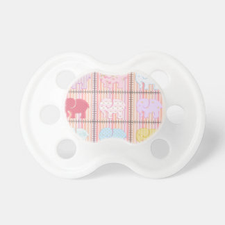 Trendy cute girly patchwork colorful elephants pacifier