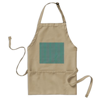 Trendy Cute Girly Pink  Teal Polka Dots Pattern Adult Apron