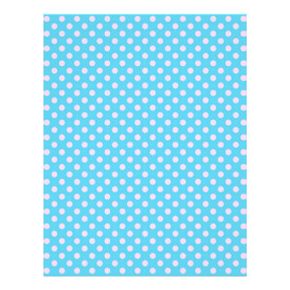 Trendy Cute Girly Pink  Teal Polka Dots Pattern Flyer Design