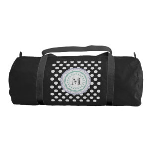3e95b6b863e7 Trendy cute girly polka dots monogram gym bag