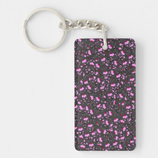 Trendy Cute Little Black Neon Pink  Bears Print Keychain