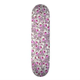 Trendy Cute Little White Neon Pink  Bears Print Skateboards