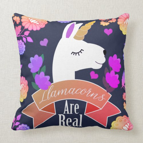 Trendy Cute Llamacorns are Real Floral Throw Pillow