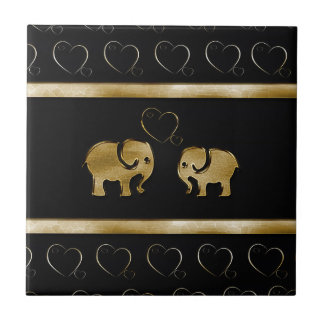 Trendy cute luxury  black /golden elephant in love ceramic tile