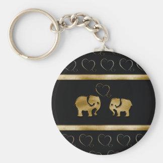 Trendy cute luxury  black /golden elephant in love keychains