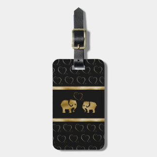 Trendy cute luxury  black /golden elephant in love luggage tags