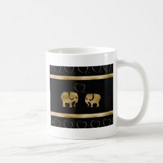 Trendy cute luxury  black /golden elephant in love mugs
