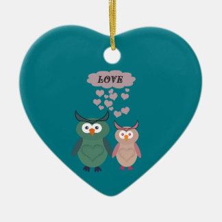 Trendy cute owl love couple ceramic ornament