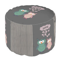 Trendy cute owl love couple pouf