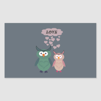 Trendy cute owl love couple rectangular sticker