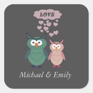 Trendy cute owl love couple square sticker