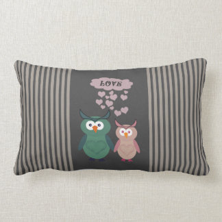 Trendy cute owl love couple throw pillow