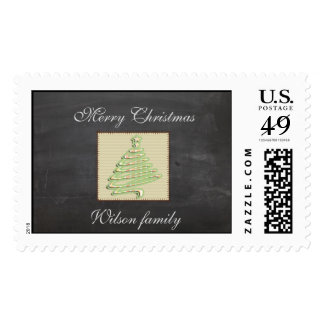 Trendy cute patchwork  Christmas tree chalkboard Postage