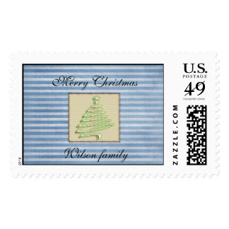 Trendy cute patchwork  Christmas tree Postage
