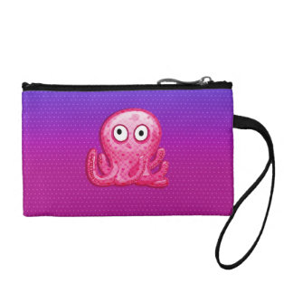 Trendy Cute Pink and Purple Octopus Coin Purses