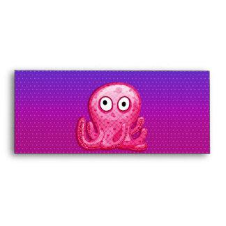 Trendy Cute Pink and Purple Octopus Envelope
