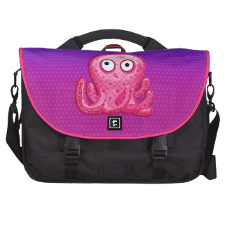 Trendy Cute Pink and Purple Octopus Laptop Bags