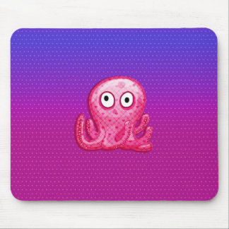 Trendy Cute Pink and Purple Octopus Mouse Pad