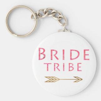 trendy cute pink bride tribe gold arrow design keychain