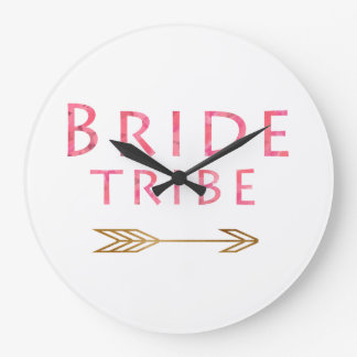 trendy cute pink bride tribe gold arrow design large clock