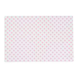 Trendy Cute Pink White Polka Dots Pattern Placemat