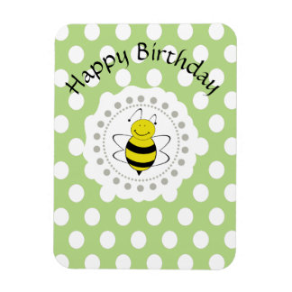Trendy cute polka dots bee personalized magnet