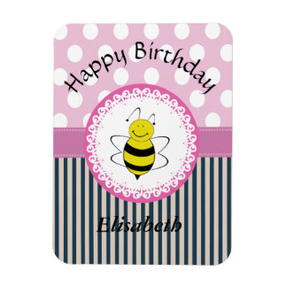 Trendy cute polka dots stripes bee magnet