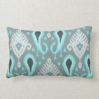 Trendy Cute Pretty Turquoise Ikat Tribal Pattern Pillow