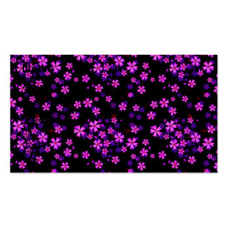 Trendy Cute Purple and Black Floral Print Double-Sided Standard Business Cards (Pack Of 100)