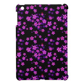 Trendy Cute Purple and Black Floral Print iPad Mini Case