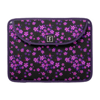 Trendy Cute Purple and Black Floral Print Sleeve For MacBooks