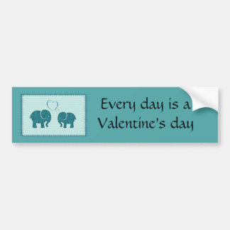 Trendy cute romantic elephants in love patchwork bumper sticker