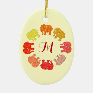 Trendy cute stylish  monogram elephants ceramic ornament