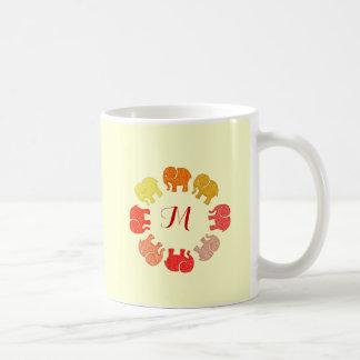 Trendy cute stylish  monogram elephants coffee mug