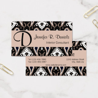 Trendy Cute Taupe Black White Ikat Tribal Pattern Business Card