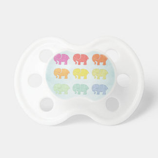 Trendy cute vintage colorful elephant pacifier