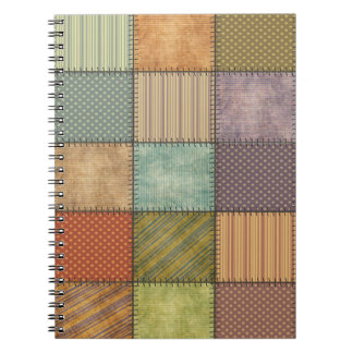 Trendy cute vintage retro colorful patchwork note books