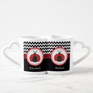 Trendy cute whimsical ladybugs monogram chevron coffee mug set