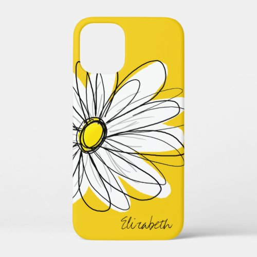 Trendy Daisy Floral Illustration - blackand yellow Phone Case