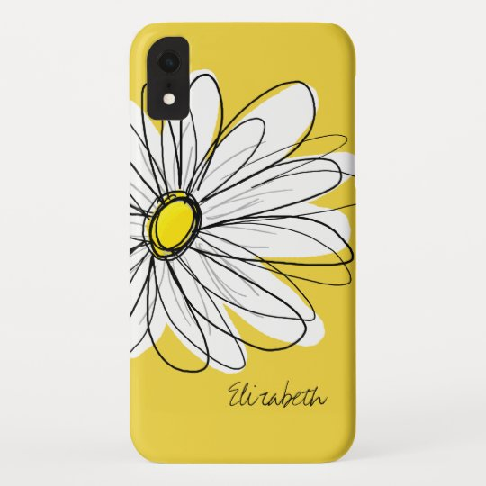 Trendy Daisy Floral Illustration , blackand yellow Case,Mate iPhone Case